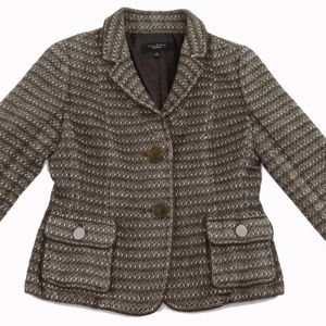 Ann Taylor Brown Tweed Wool Cotton Blazer